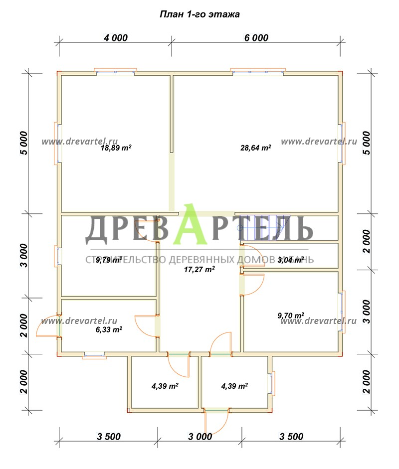 План 1-го этажа - Двухэтажный дом из бруса 10х10