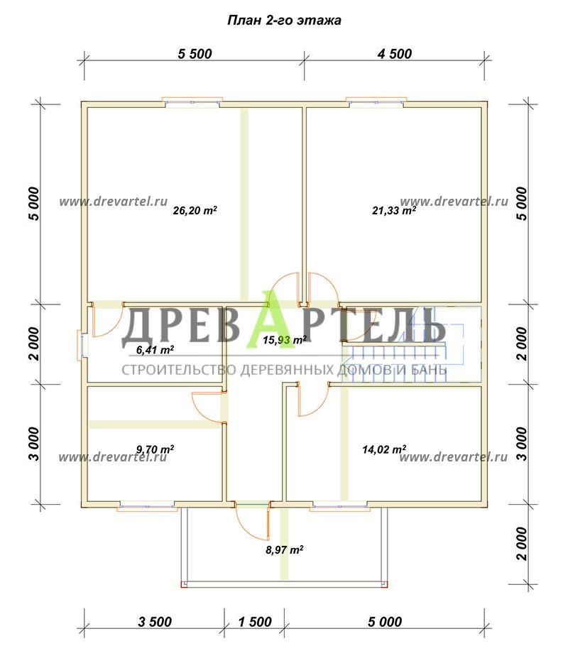 План 2-го этажа - Двухэтажный дом из бруса 10х10