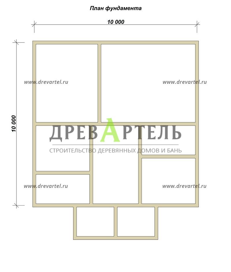 План ленточного фундамента - Двухэтажный дом из бруса 10х10