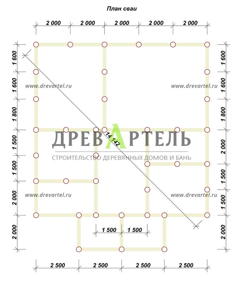 План свайного фундамента - Двухэтажный дом из бруса 10х10