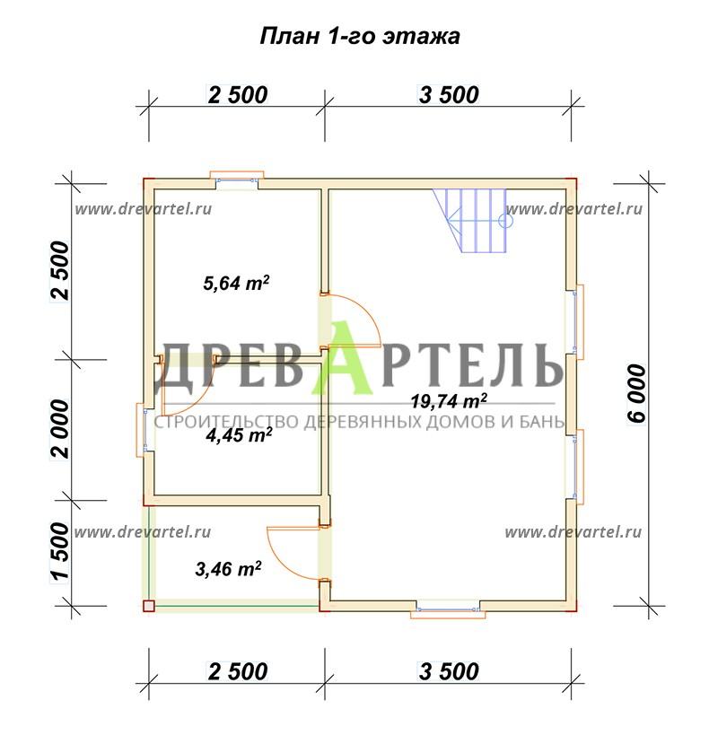 План 1-го этажа - Дачный дом из бруса 6х6