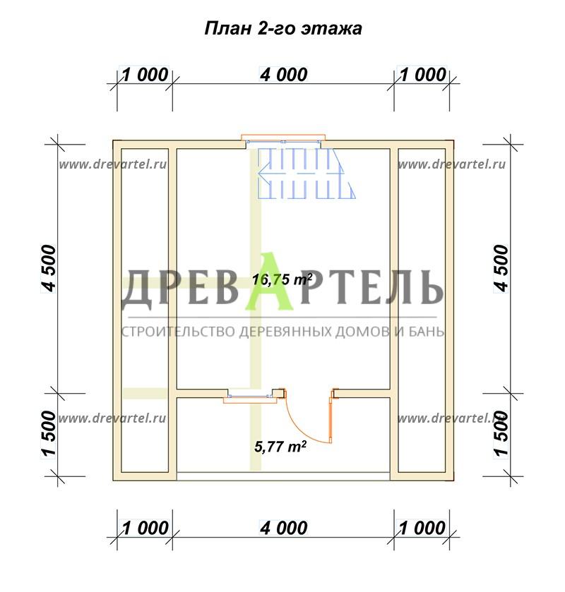 План 2-го этажа - Дачный дом из бруса 6х6