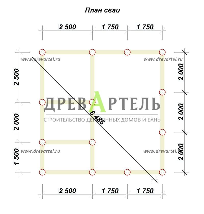 План свайного фундамента - Дачный дом из бруса 6х6