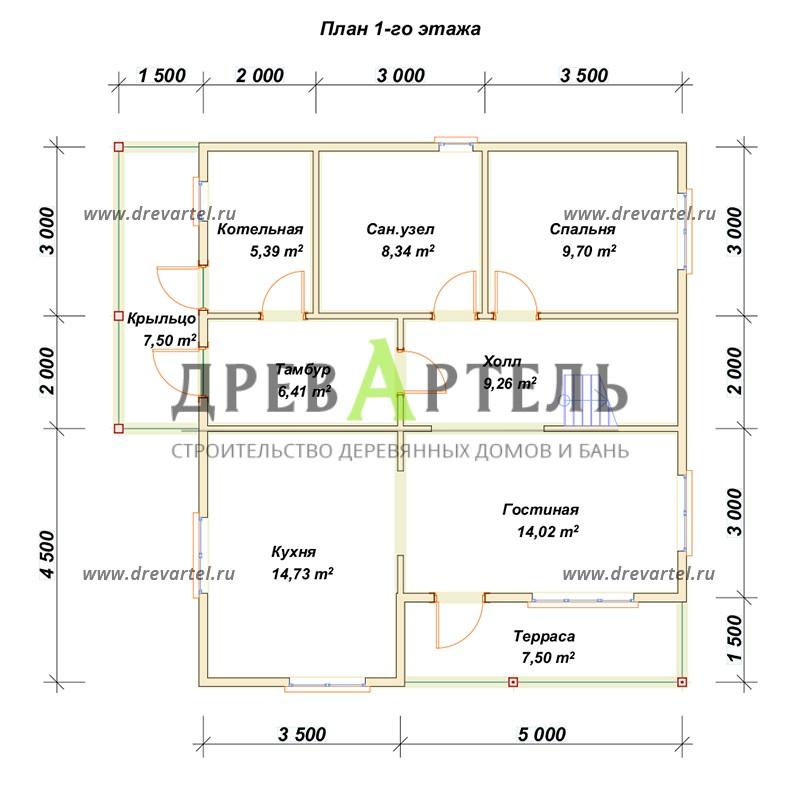 План 1-го этажа - Дом из бруса 8х9 с террасой и балконом
