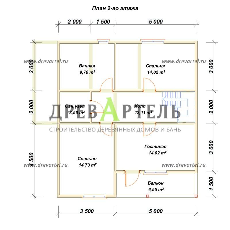 План 2-го этажа - Дом из бруса 8х9 с террасой и балконом