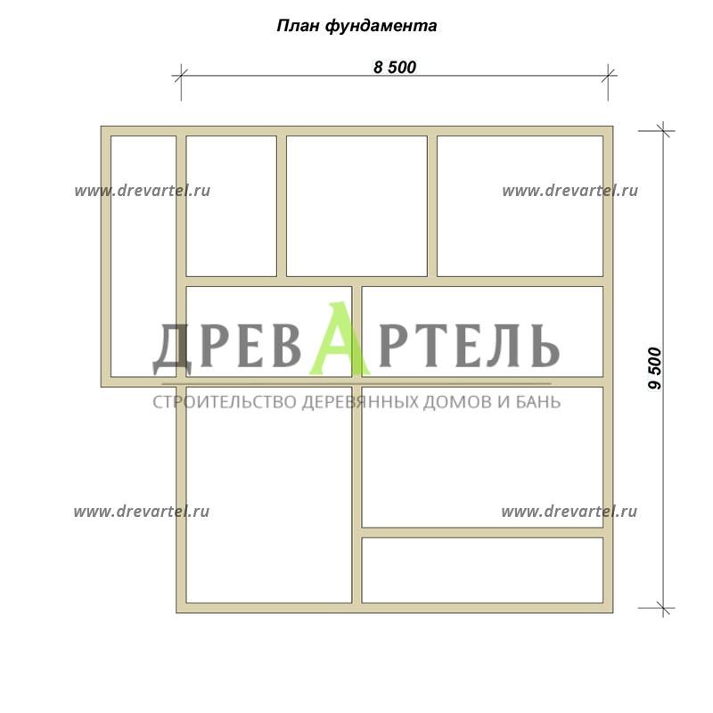 План ленточного фундамента - Дом из бруса 8х9 с террасой и балконом