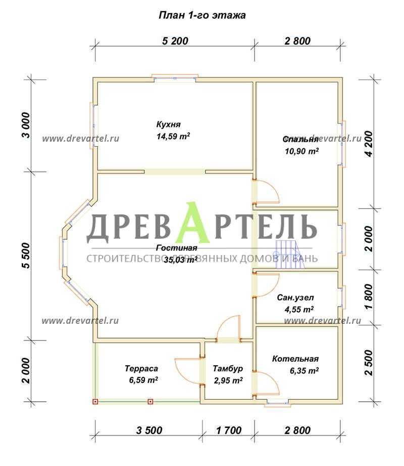 План 1-го этажа - Брусовой дом 8х10 в полтора этажа