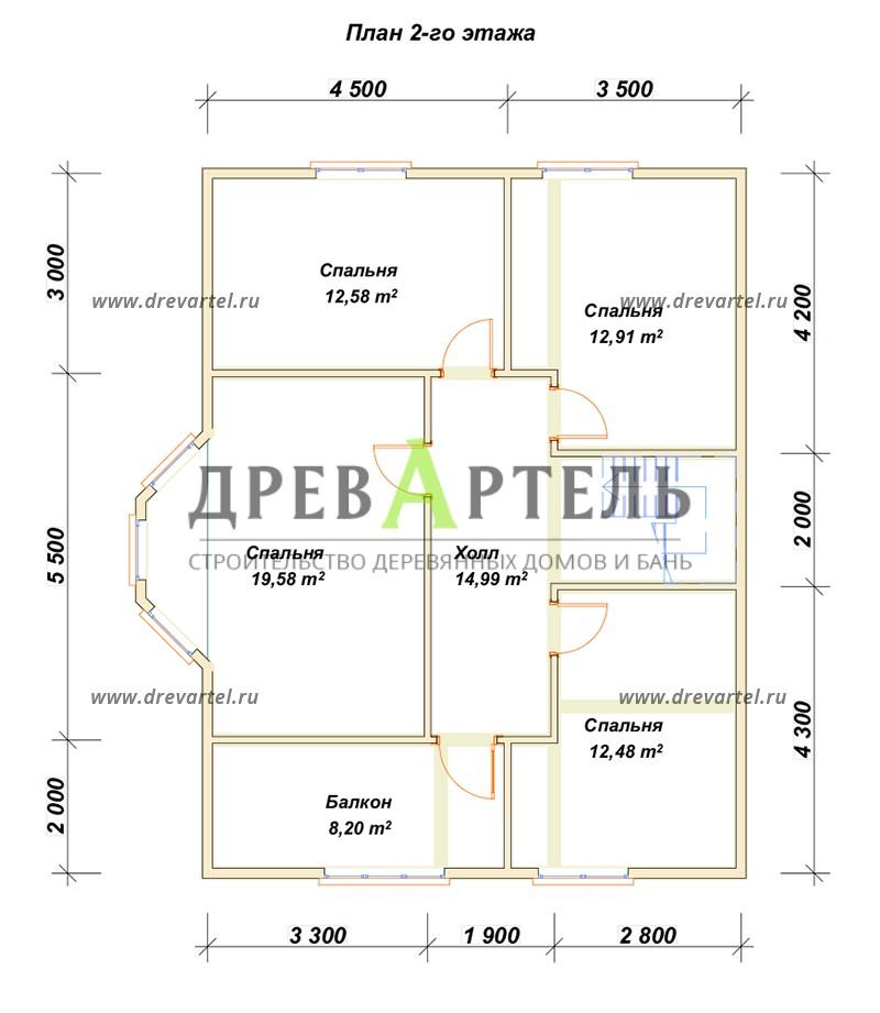 План 2-го этажа - Брусовой дом 8х10 в полтора этажа
