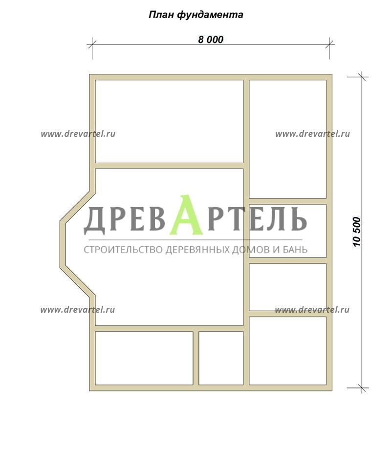 План ленточного фундамента - Брусовой дом 8х10 в полтора этажа