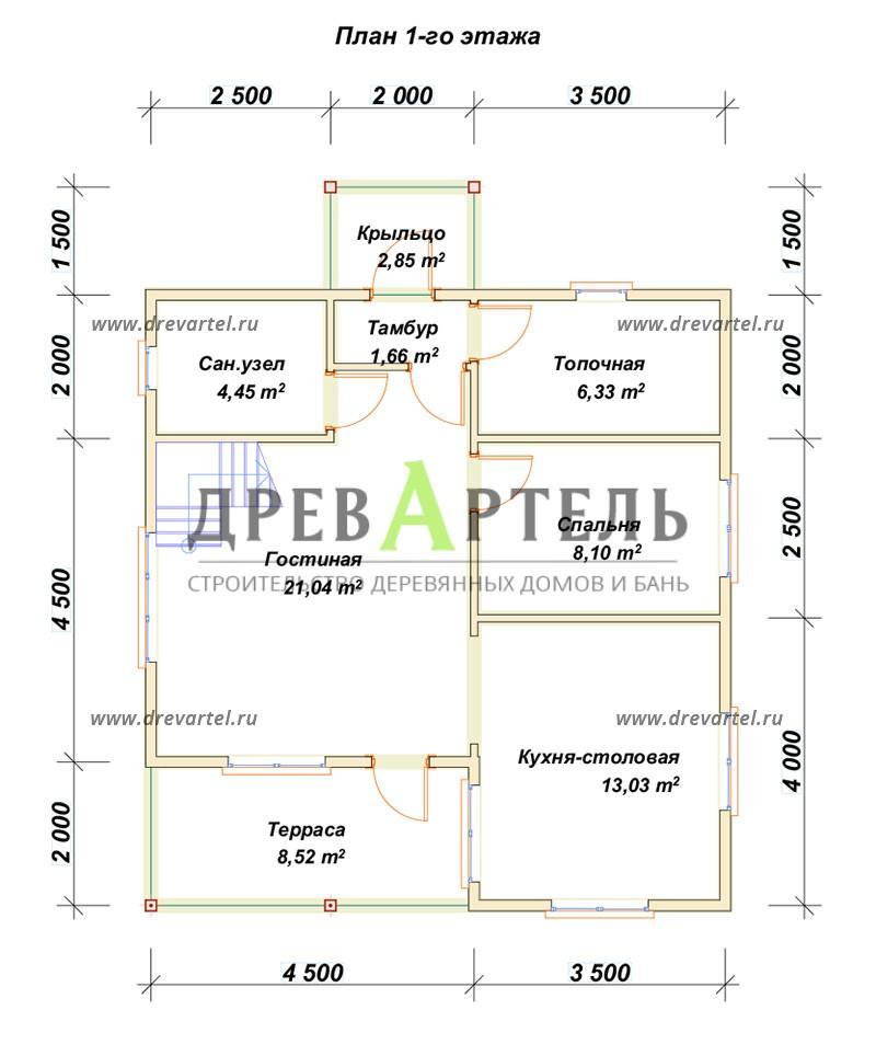План 1-го этажа - Дом 8х8 с удобной планировкой с котельной