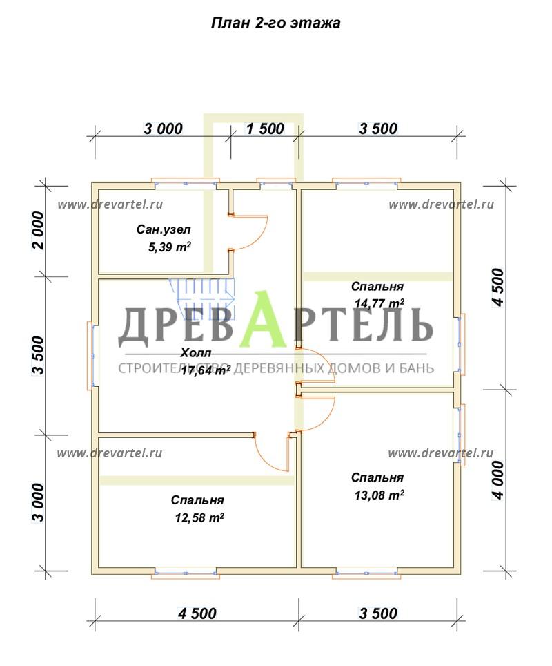 План 2-го этажа - Дом 8х8 с удобной планировкой с котельной