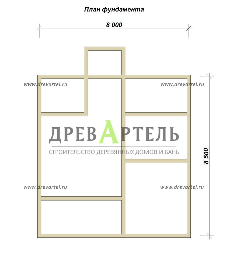 План ленточного фундамента - Дом 8х8 с удобной планировкой с котельной
