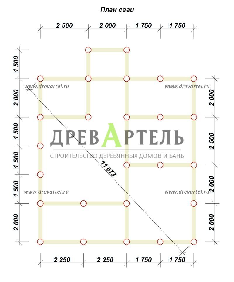 План свайного фундамента - Дом 8х8 с удобной планировкой с котельной