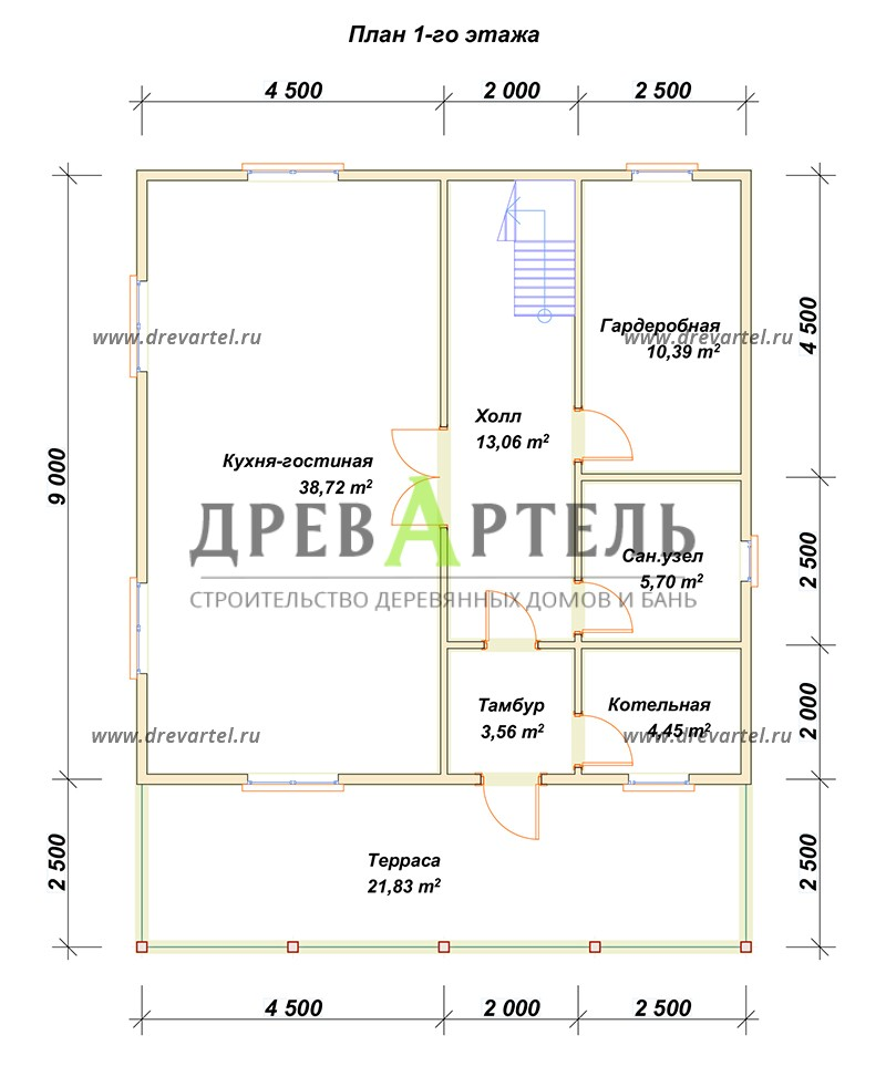 План 1-го этажа - Дом из бруса 9х9