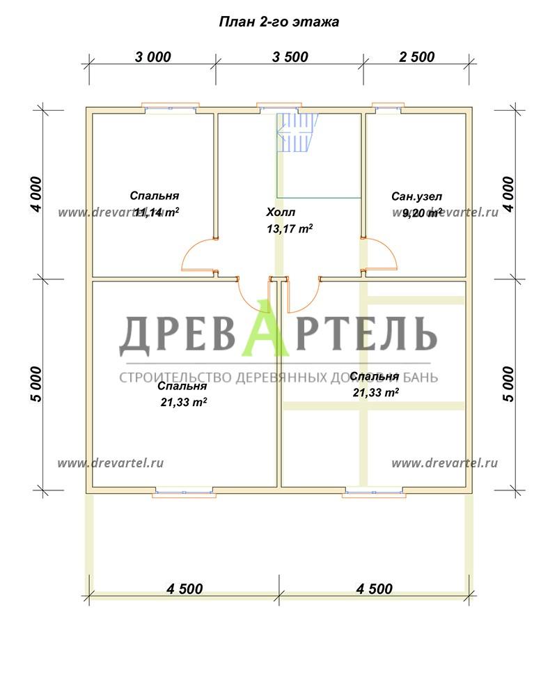 План 2-го этажа - Дом из бруса 9х9