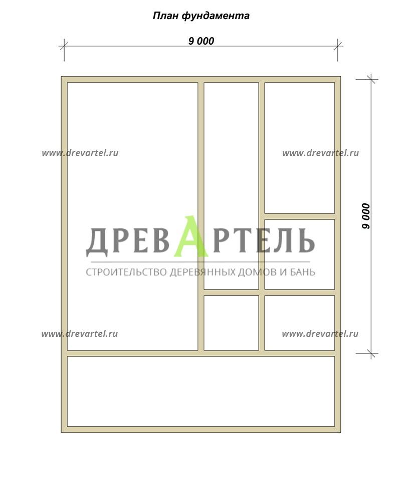 План ленточного фундамента - Дом из бруса 9х9