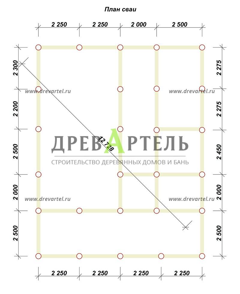 План свайного фундамента - Дом из бруса 9х9