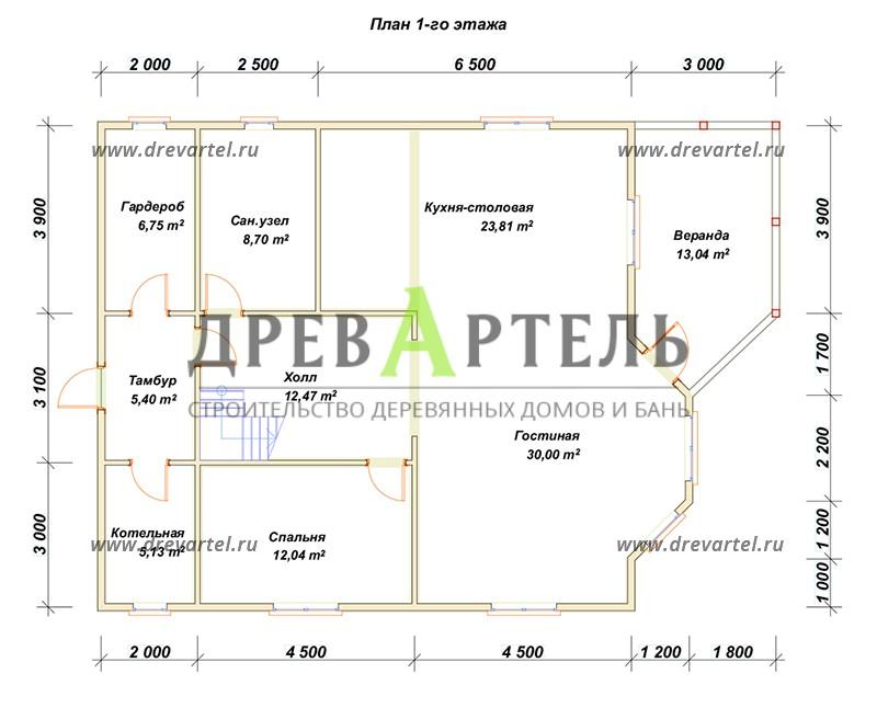 План 1-го этажа - Деревянный дом из бруса 10х11