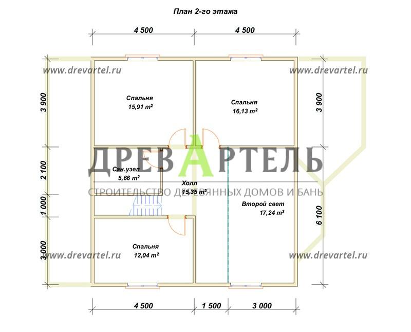 План 2-го этажа - Деревянный дом из бруса 10х11