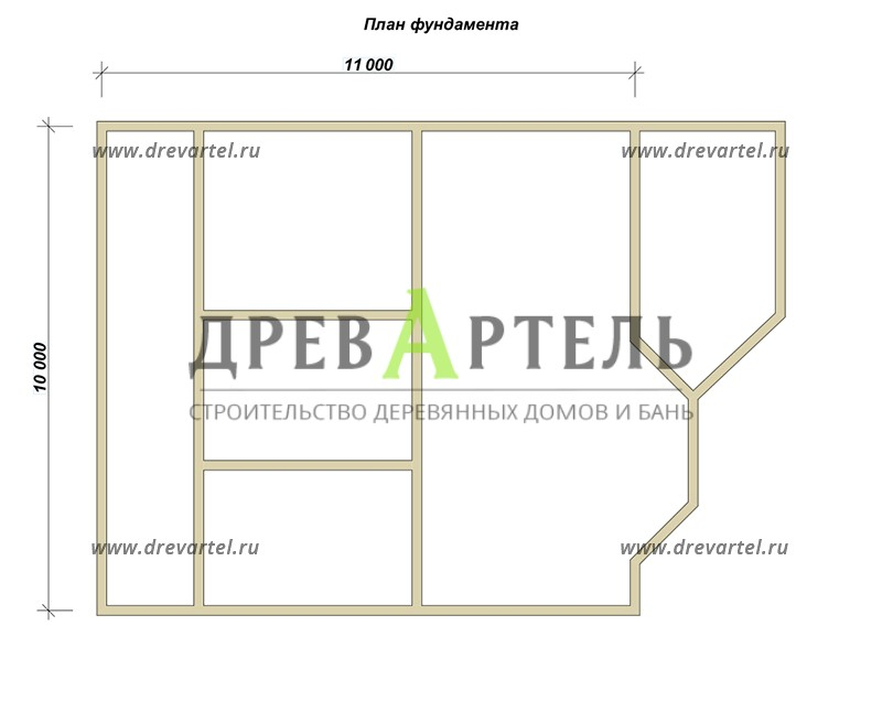 План ленточного фундамента - Деревянный дом из бруса 10х11