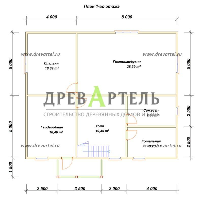 План 1-го этажа - Проект дома с мансардой 10х12