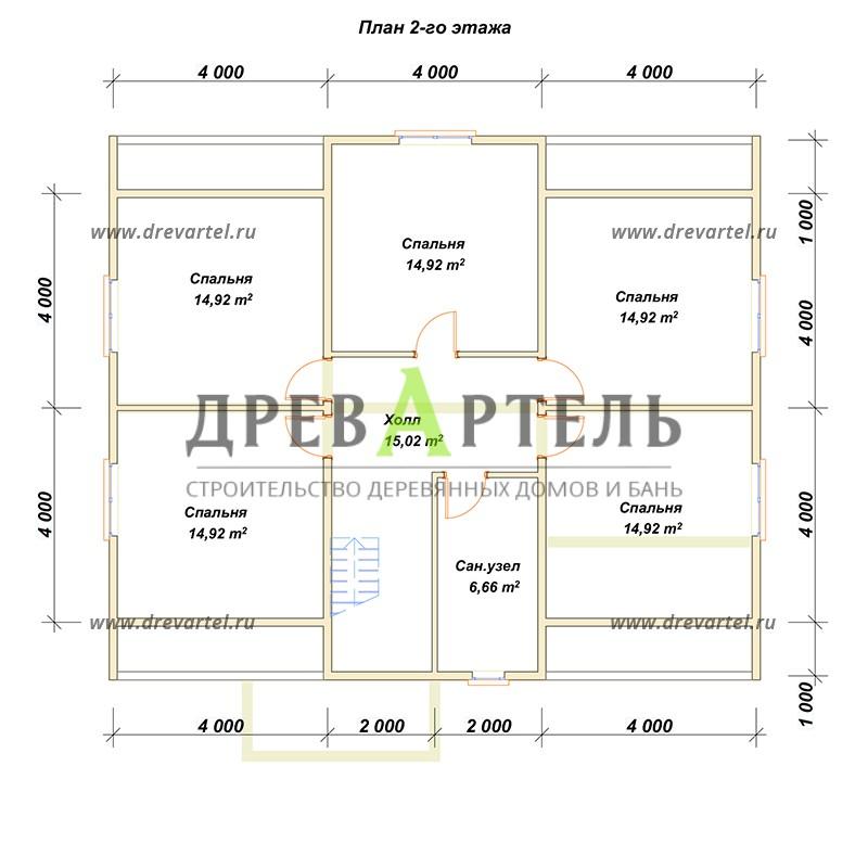 План 2-го этажа - Проект дома с мансардой 10х12