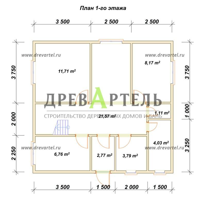 План 1-го этажа - Дом из бруса 8 на 8 с мансардой