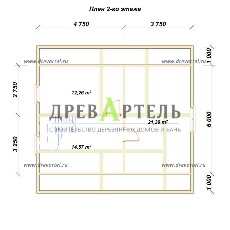 План 2-го этажа - Дом из бруса 8 на 8 с мансардой