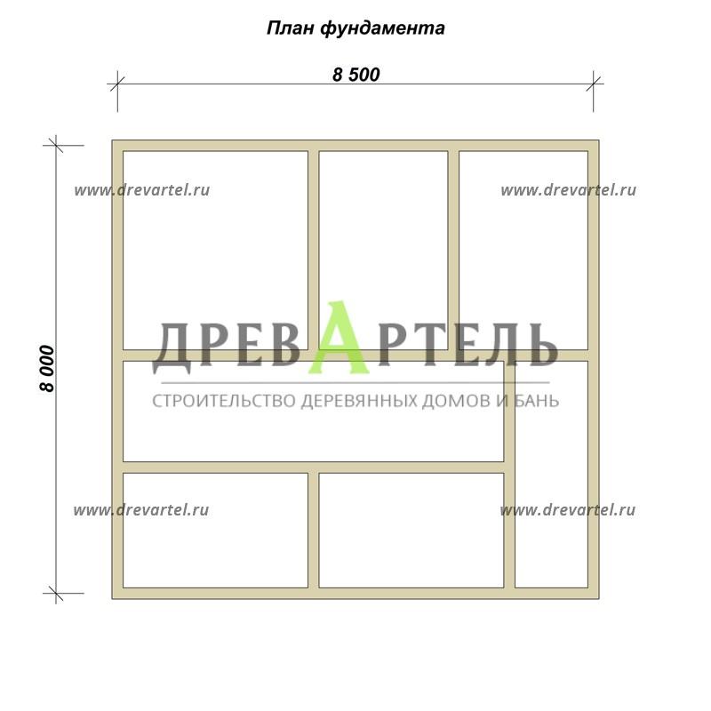 План ленточного фундамента - Дом из бруса 8 на 8 с мансардой