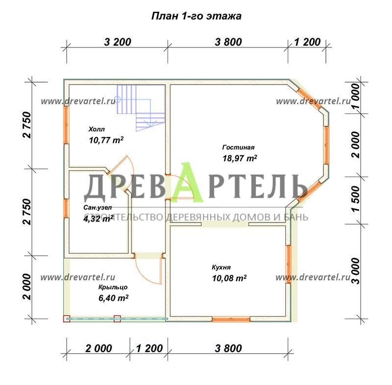 План 1-го этажа - Недорогой дом из бруса 7х8 с эркером