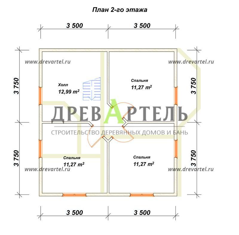 План 2-го этажа - Недорогой дом из бруса 7х8 с эркером