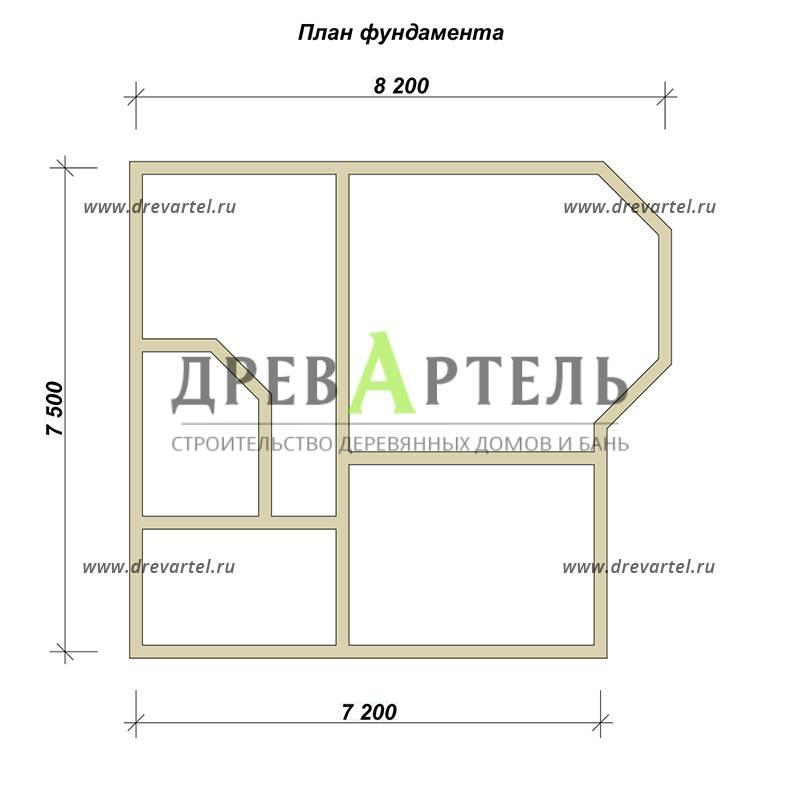 План ленточного фундамента - Недорогой дом из бруса 7х8 с эркером