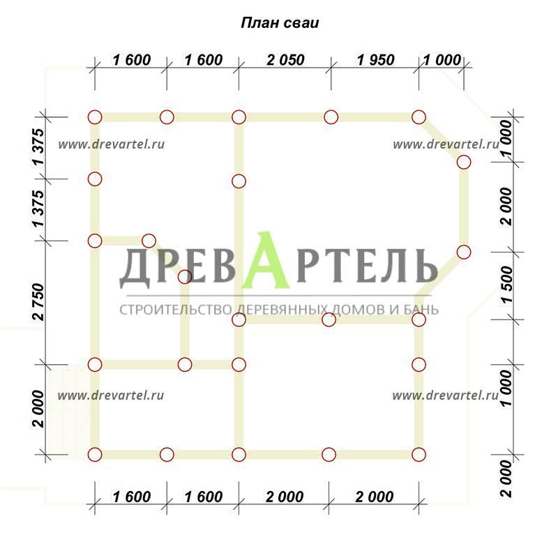 План свайного фундамента - Недорогой дом из бруса 7х8 с эркером