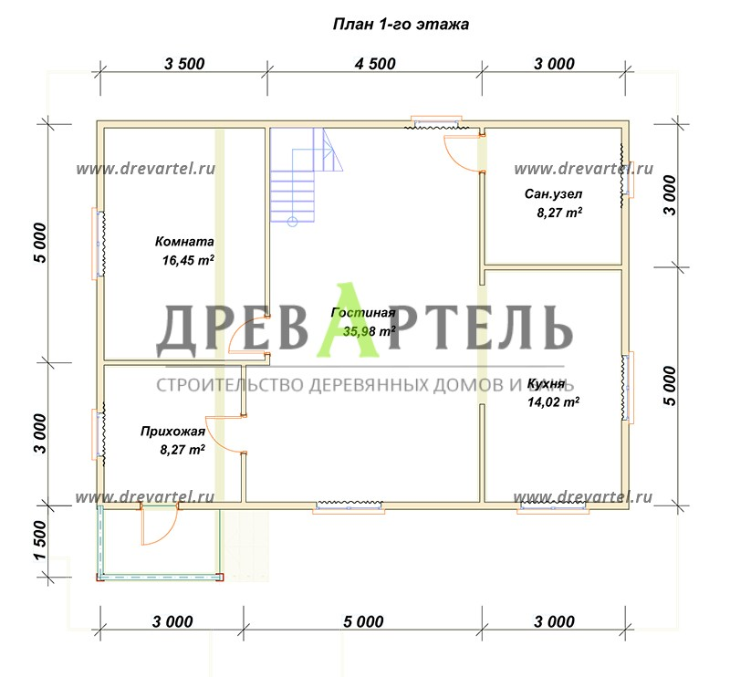 План 1-го этажа - Дом из профилированного бруса 8х11
