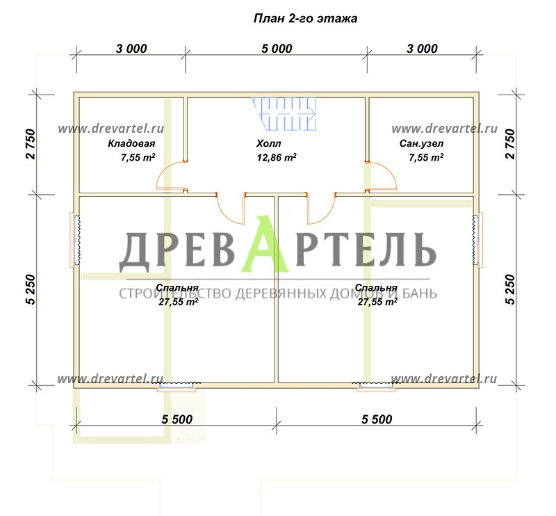 План 2-го этажа - Дом из профилированного бруса 8х11