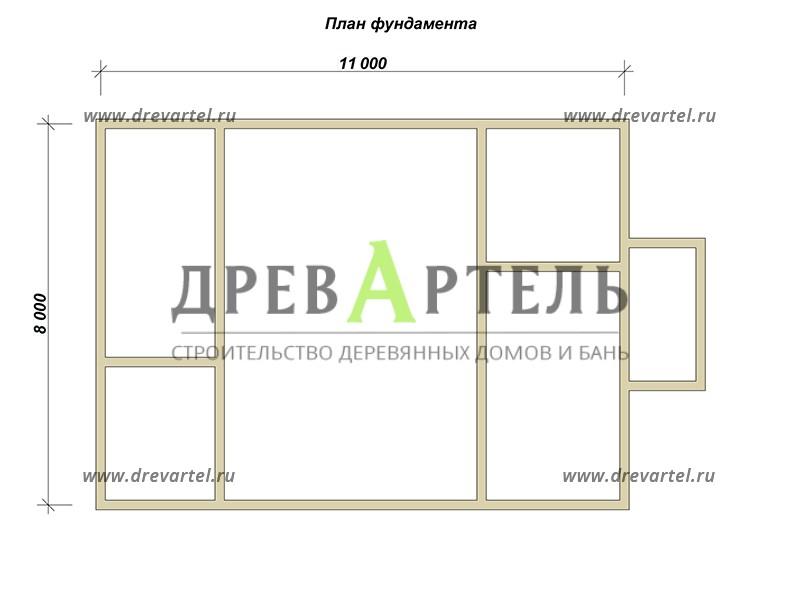 План ленточного фундамента - Дом из профилированного бруса 8х11