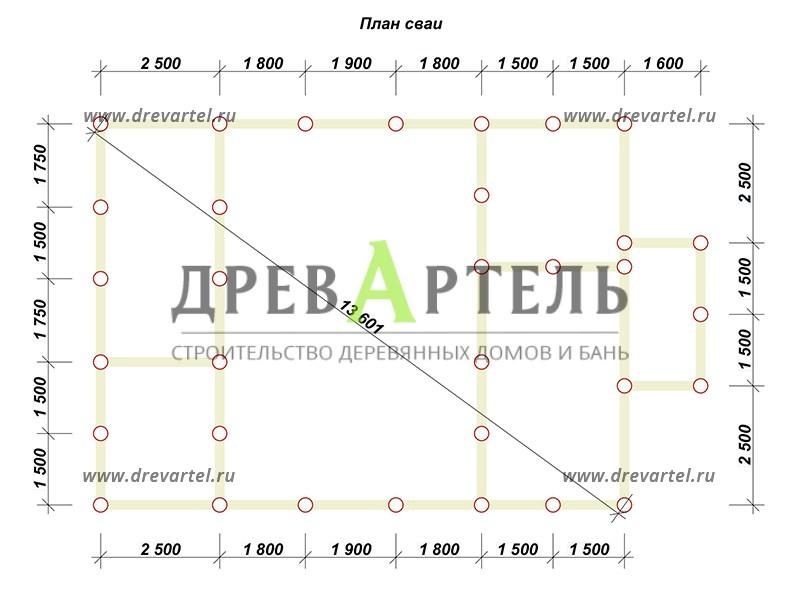 План свайного фундамента - Дом из профилированного бруса 8х11