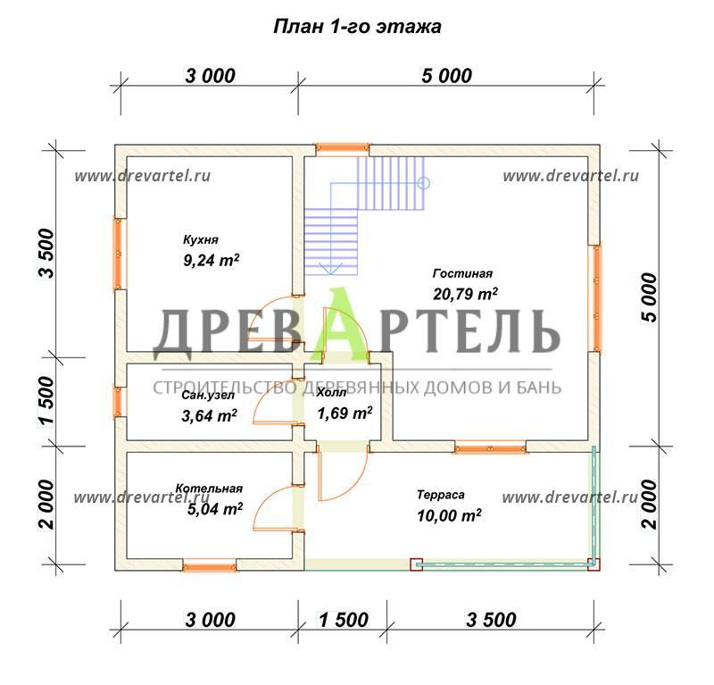 План 1-го этажа - Дом из бруса 7х8 с балконом и террасой