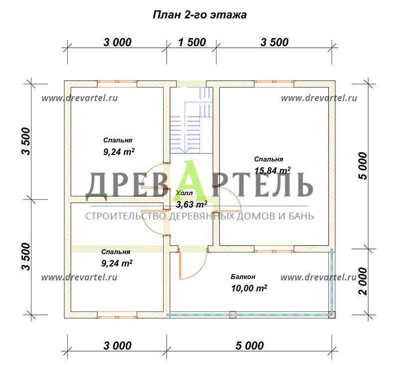 План 2-го этажа - Дом из бруса 7х8 с балконом и террасой