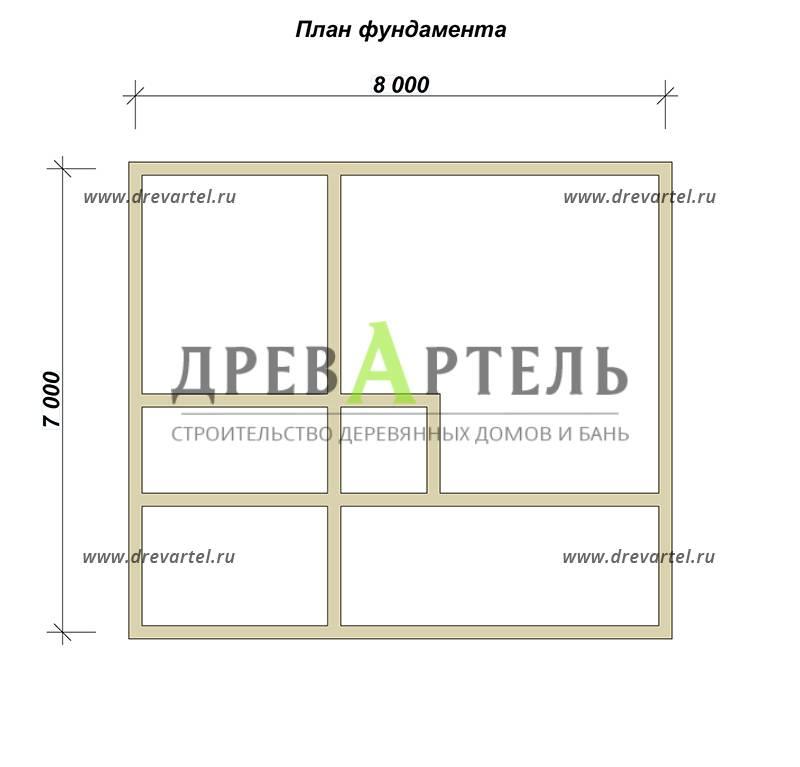 План ленточного фундамента - Дом из бруса 7х8 с балконом и террасой