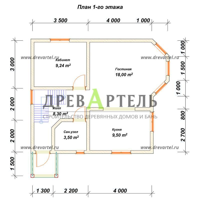 План 1-го этажа - Дом 7х7 с отличной планировкой