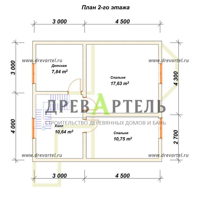 План 2-го этажа - Дом 7х7 с отличной планировкой