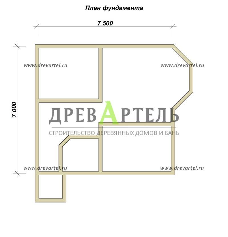 План ленточного фундамента - Дом 7х7 с отличной планировкой