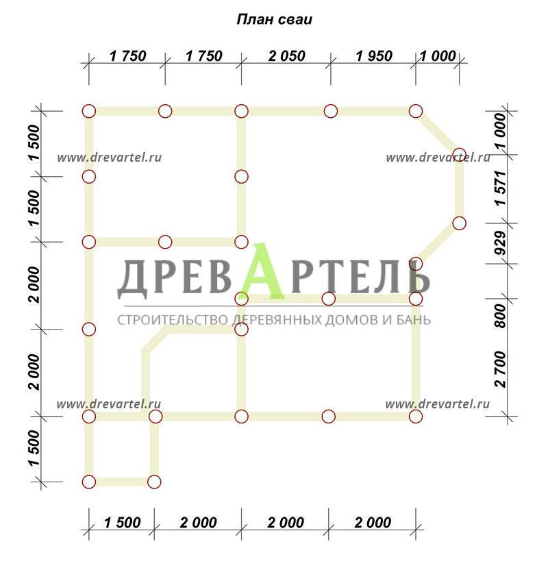 План свайного фундамента - Дом 7х7 с отличной планировкой