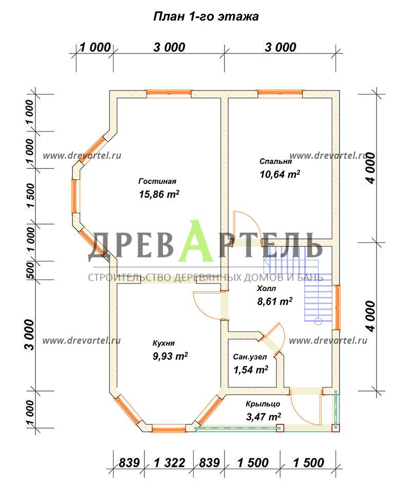 План 1-го этажа - Брусовой дом 6х8 с двумя эркерами