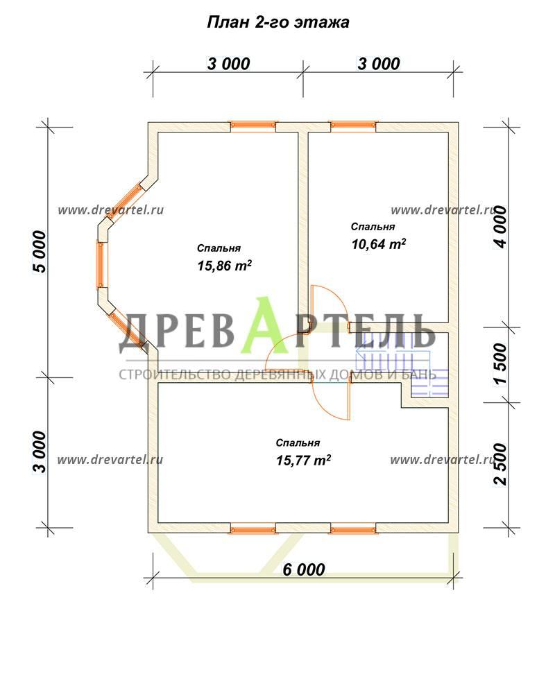 План 2-го этажа - Брусовой дом 6х8 с двумя эркерами