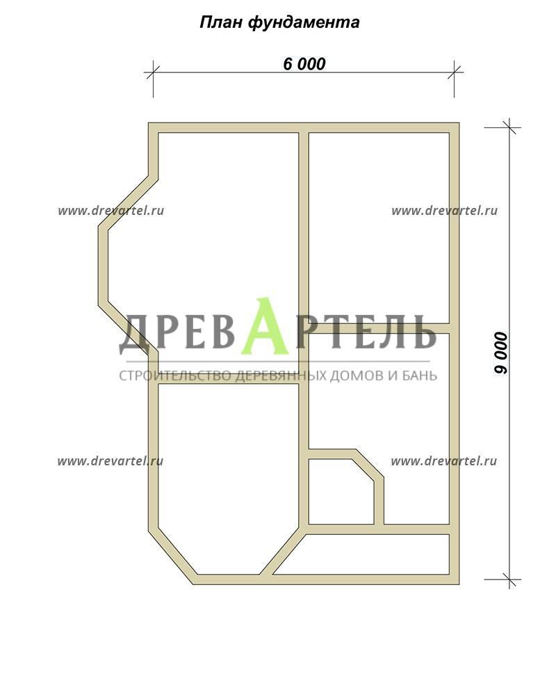 План ленточного фундамента - Брусовой дом 6х8 с двумя эркерами