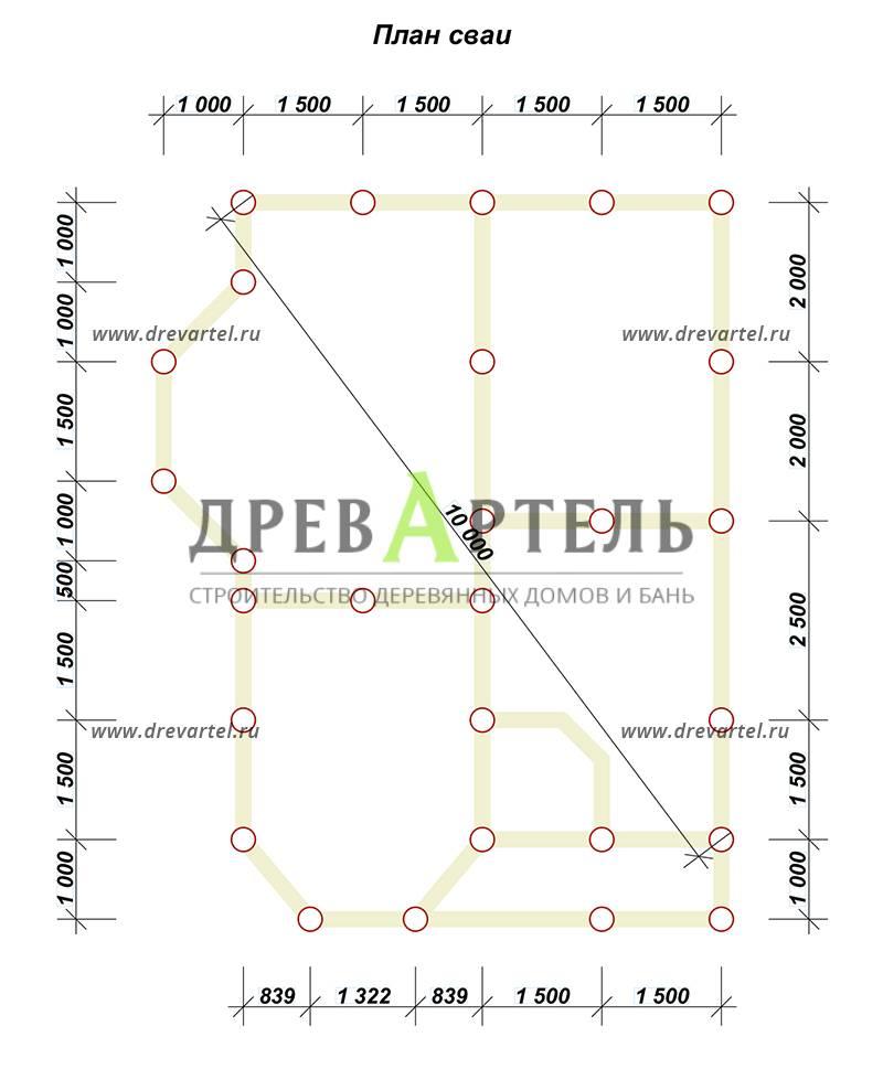 План свайного фундамента - Брусовой дом 6х8 с двумя эркерами