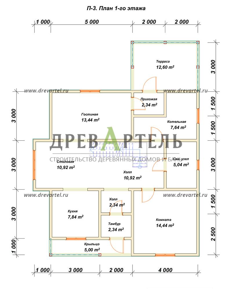 План 1-го этажа - Дом из бруса 10х10 с эркером