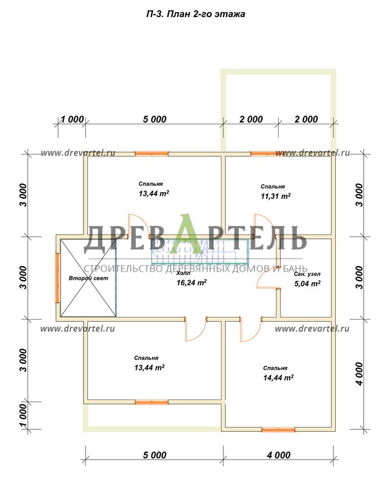 План 2-го этажа - Дом из бруса 10х10 с эркером